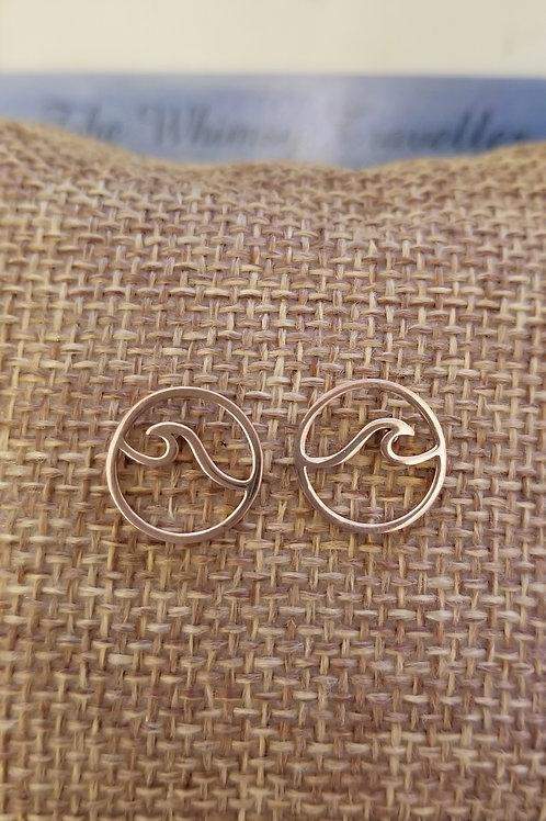 Ocean Wave Pierced Earrings ROSE GOLD