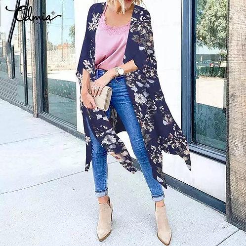 Ladies Navy Blue Floral Kimono w/Side Splits