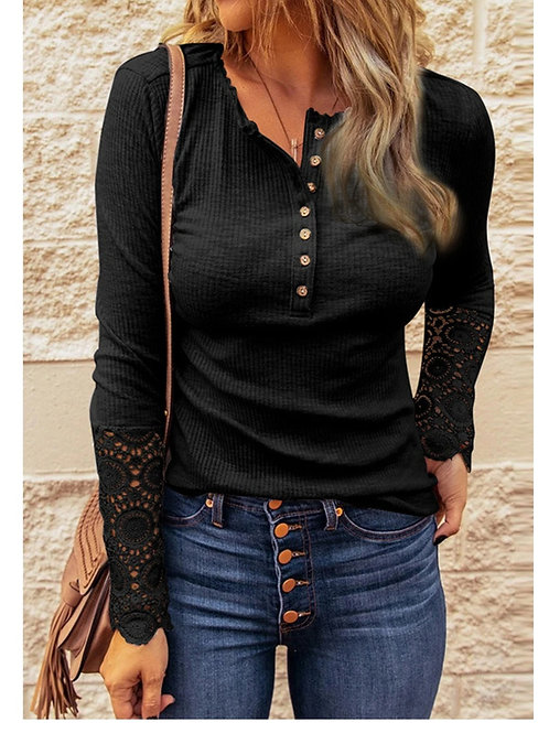 Black Long Sleeve with Lace 💟 Button Front Shirt
