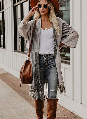 Whimsy BoHo Patchwork Fringe Sweater