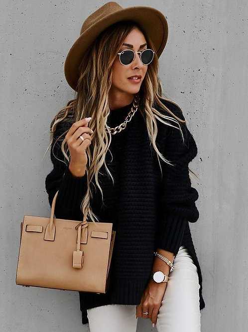 Black Hi-Neck Side Split Sweater