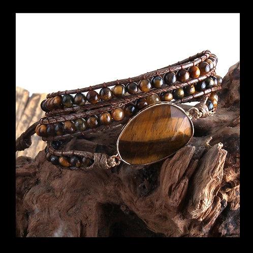 Tiger Eye BoHo Wrap Bracelet
