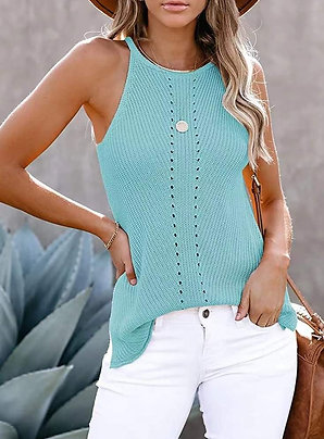 Tiffany Blue Hi-Neck Lighweight Knit Tank
