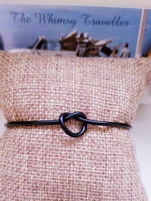 Adjustable Boho Style Knotted Black Metal Bracelet