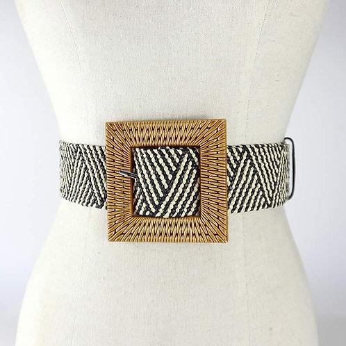BIG Buckle Fashion Belt in Black & White Pattern