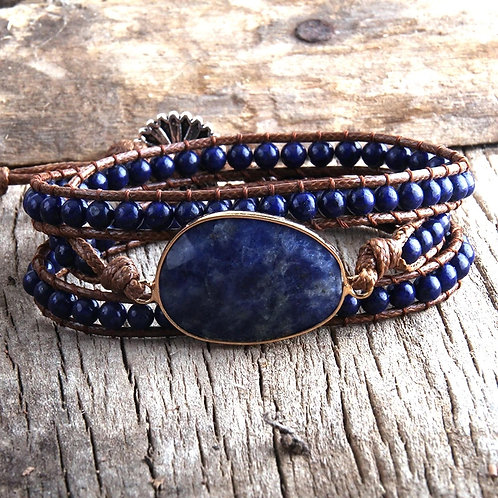 BoHo Stone Wrap Bracelet (Blue Stone)