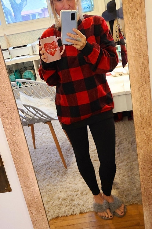 Proud Canadian ❣ Buffalo Plaid Crew Neck Pullover