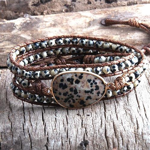 Speckled Stone BoHo Wrap Bracelet