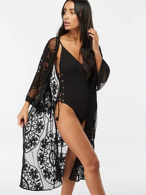 Ebony Black BoHo Sheer Kimono