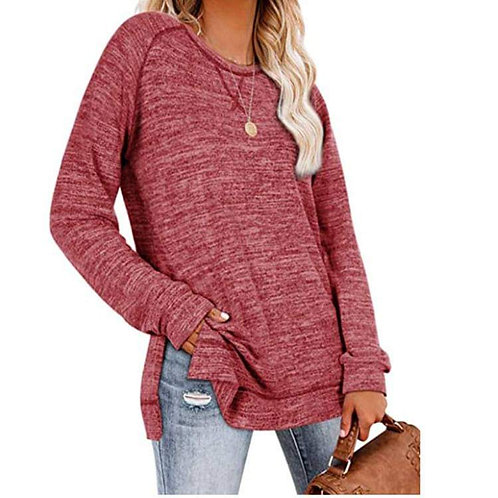 Maroon Red Salt & Pepper Long Sleeve Basic Tee
