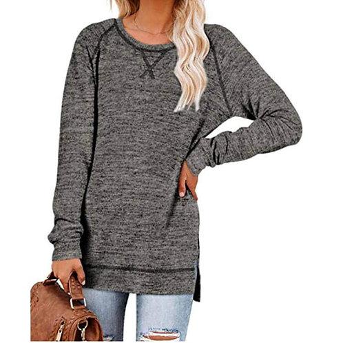 Salt & Pepper Dark Grey Side Split Long Sleeve Shirt