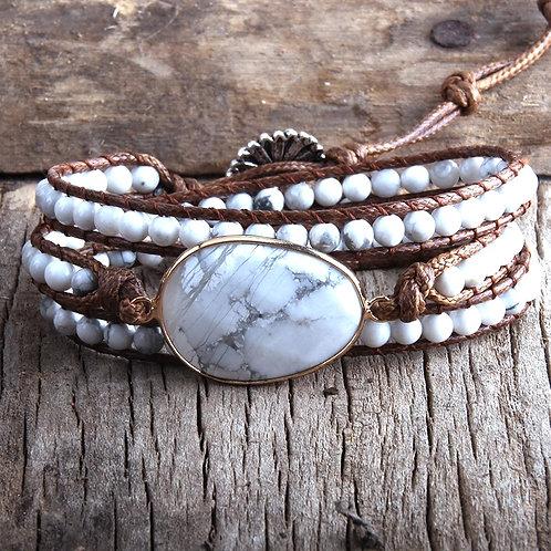BoHo Wrap WHITE Stone Bracelet