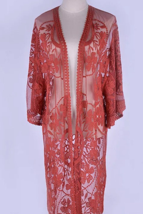 """Stunning """"Red Pepper"""" BoHo Sheer Kimono"""