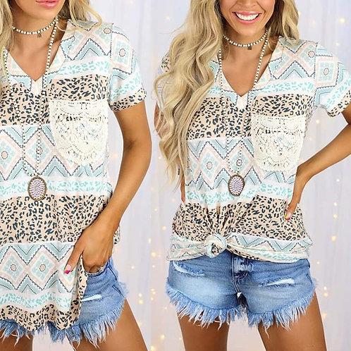 """Lonestar"" V-Neck w/lace Pocket Tshirt"