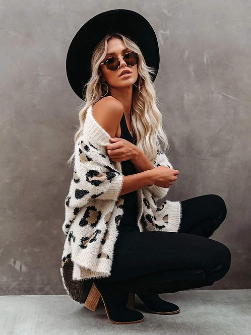 Whimsy Leopard Print Batwing Sleeve ~ Cozy Cardi