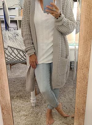 Cozy Boyfriend Cut Loose Knit Dove Grey Sweater