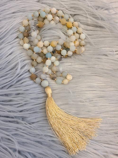 Beautiful Mala Bead Necklace (Matte Finish) Neutral