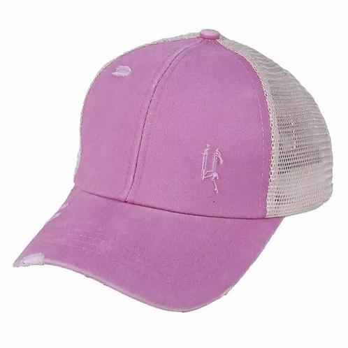 Distressed Pink Pony/Messy Bun Baseball Hat
