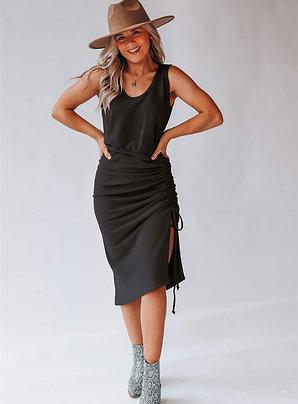 Jet Black Maxi Dress w/Side Tie