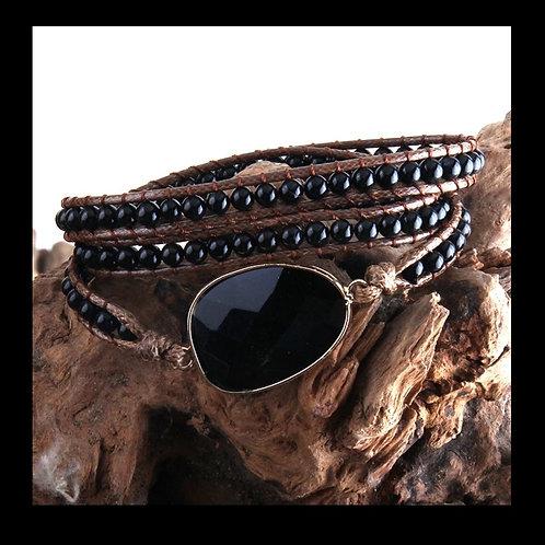 BoHo Wrap Bracelet BLACK Stone