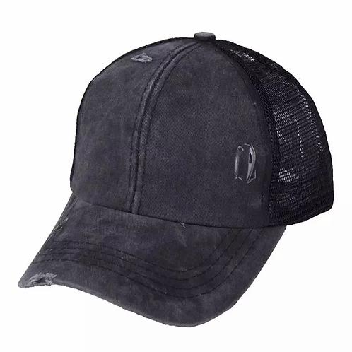 Black Distressed Pony/Bun Hat