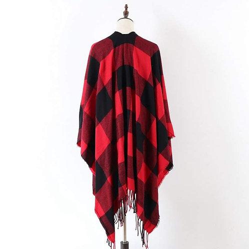 Red & Black Buffalo Plaid Blanket Shawl