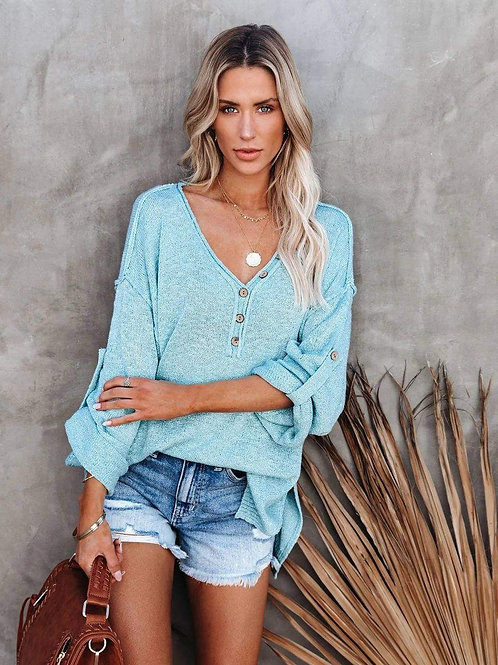 Island Knit Oversized Sweater with Side Slits (Ocean Blue)