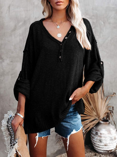 Island Knit Oversized Sweater with Side Slits (Jet Black)