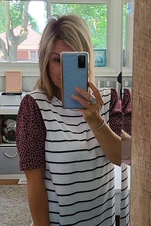 """""""Jasmine"""" Striped Shirt w/cutie sleeve"""
