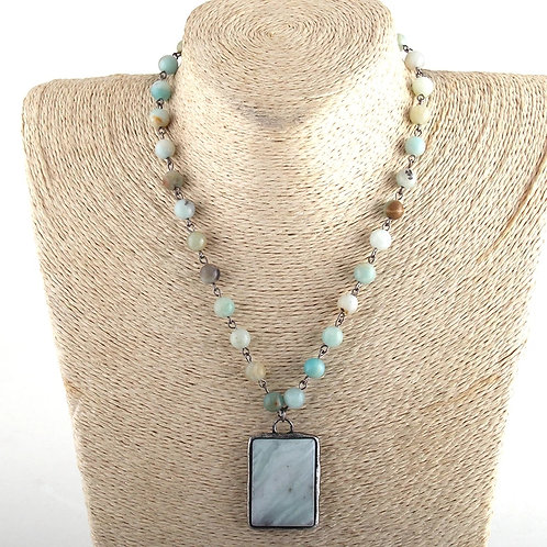 Beach Glass Blue Beaded Necklace with Large Pendant