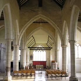 The nave, facing the chancel and East window
