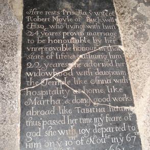 Priscilla Moyle (1661) memorial in the vestry
