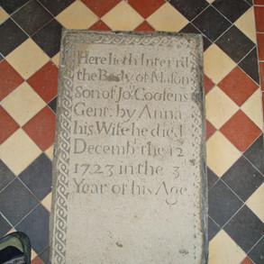Mason Coosens (1723) memorial