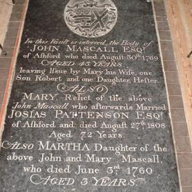 John (1769), Mary (1808) and daughter Martha (1760) Mascall memorial