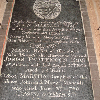 John (1769), Mary (1808) and daughter Martha (1760) Mascall memorial