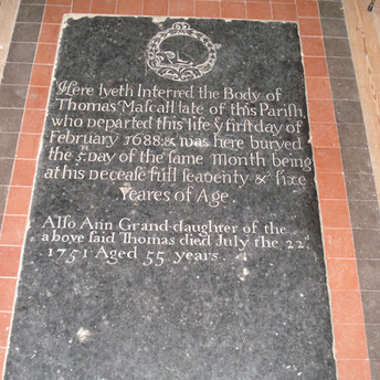 Thomas Mascall (1688) and granddaughter Ann (1751) memorial
