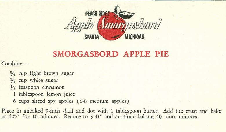 Smorgasbord Apple Pie 1959