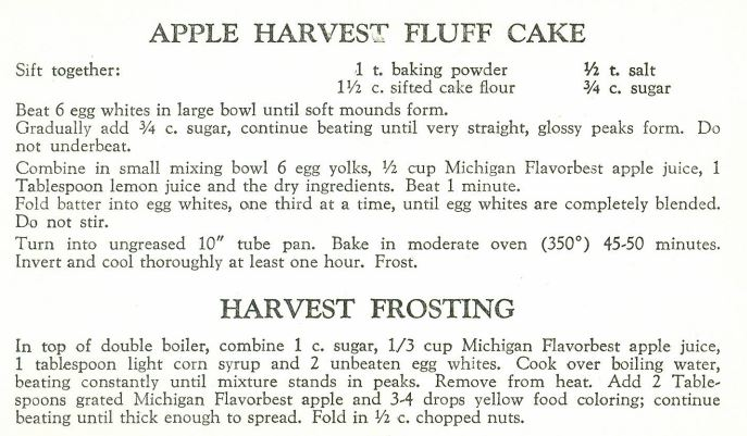 Apple Harvest Fluff Cake and Harvest Frosting 1957