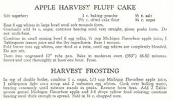 Apple Harvest Fluff Cake and Harvest Frosting 1957