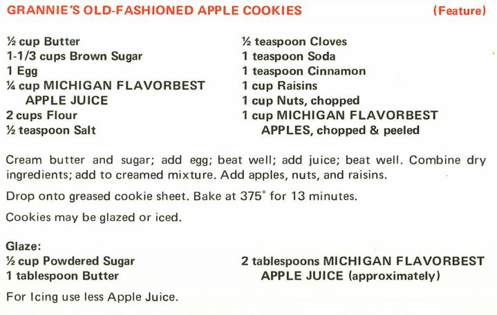 Grannie's Old-Fashion Apple Cookies 1971