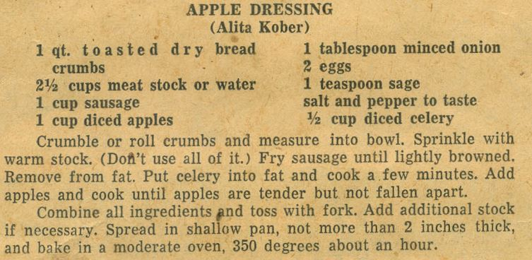 Apple Dressing 1951