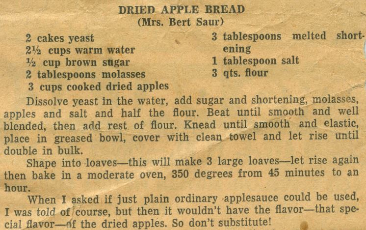 Dried Apple Bread 1951