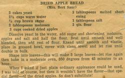 Dried Apple Bread 1951