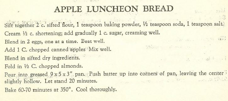 Apple Luncheon Bread 1957