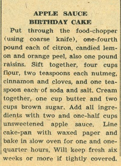 Apple Sauce Birthday Cake 1958