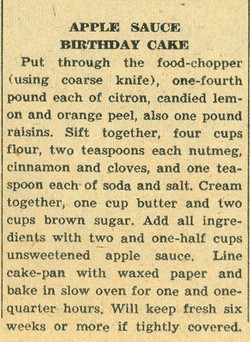 Apple Sauce Birthday Cake 1958