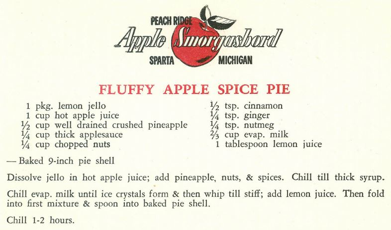 Fluffy Apple Spice Pie 1959