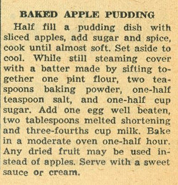 Baked Apple Pudding 1958