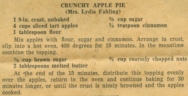 Cruncy Apple Pie 1951