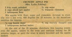 Cruncy Apple Pie 1951